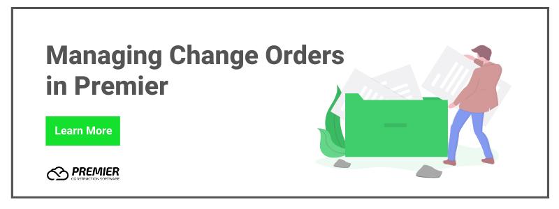 managing change orders in premier