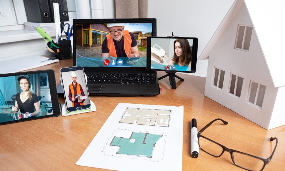 Communication between the architect, engineer and builders via the Internet.
