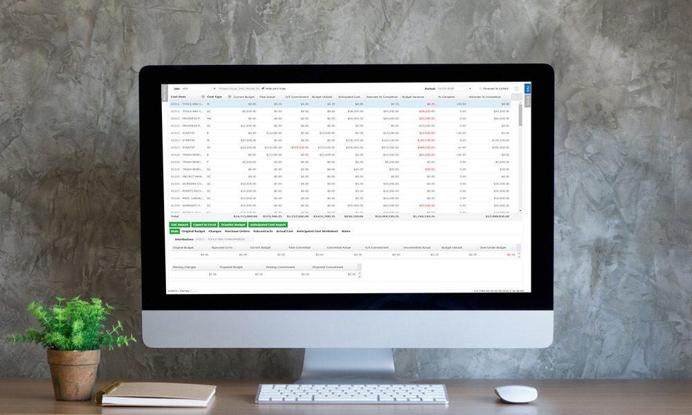 Premier forecasting screen on iMac